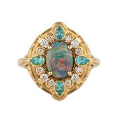 1.70 Carat Black Opal, Paraiba Tourmaline and Diamond Ring 18K Yellow Gold
