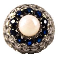 1.70 Carat Blue Sapphire 1.30 Carat White Diamond Pearl White Gold Cocktail Ring