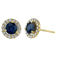 1.70 ct. t.w. Blue Sapphire and Diamond Halo 18k Yellow Gold Round Stud Earrings
