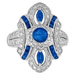 1.70 Carat Blue Sapphire Diamond Gold Ring