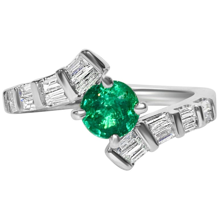 1.70 Carat Colombian Emerald Diamond Cocktail Engagement Ring For Sale