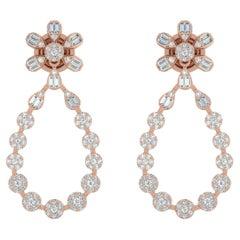 1.70 Carat Diamond 14 Karat Gold Drop Earrings
