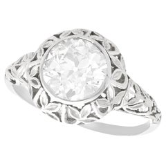 1.70 Carat Diamond and 18 Karat White Gold Solitaire Ring, Antique, circa 1910