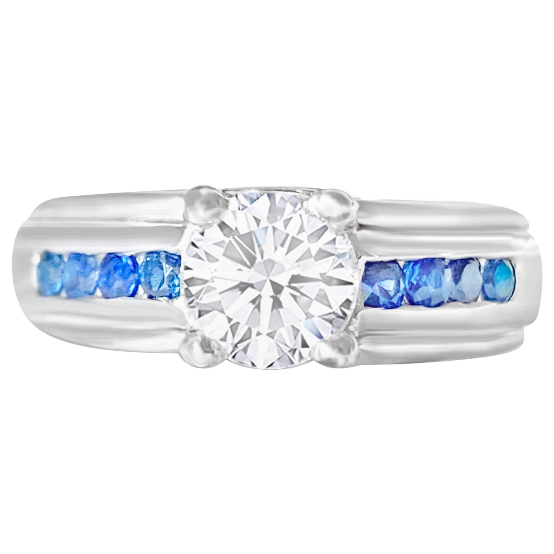 1.70 Carat Diamond and Blue Sapphire Engagement Ring in 18 Karat White Gold
