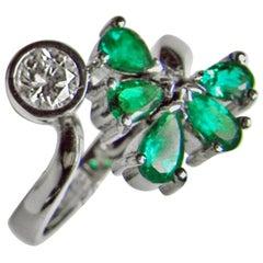 1.70 Carat Diamond Emerald Bypass Ring 18 Karat White Gold