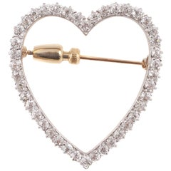1.70 Carat Diamond Heart Brooch