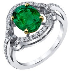 1.70 Carat Emerald and Diamond Cocktail Ring