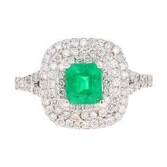 1.70 Carat Emerald Diamond 14 Karat White Gold Engagement Ring