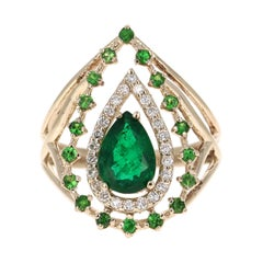 1.70 Carat Emerald, Tsavorite and Diamond 14 Karat Yellow Gold Cocktail Ring