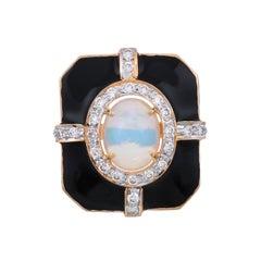 1.70 Carat Ethiopian Opal Diamond and Black Enamel Art Deco 18 Karat Gold Ring