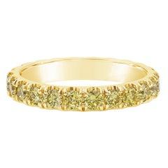 1.70 Carat Fancy Intense Yellow Diamond Eternity Wedding Band