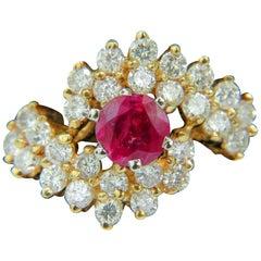 1.70 Carat Fine Gem Natural Ruby Diamond Cocktail Ring