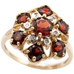 Yellow Gold Garnet Diamond Cluster Ring Full Hallmarks, UK size M 3/4 - US size