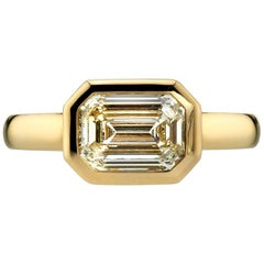 1.70 Carat GIA Certified Emerald Cut Diamond in a Yellow Gold Engagement Ring
