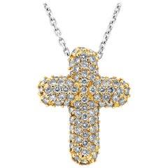 1.70 Carat Micro-Pave Diamond Cross Pendant Necklace