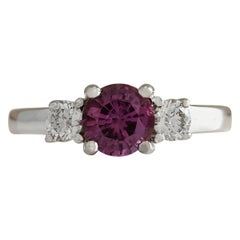 1.70 Carat Natural Ceylon Sapphire 18 Karat White Gold Diamond Ring