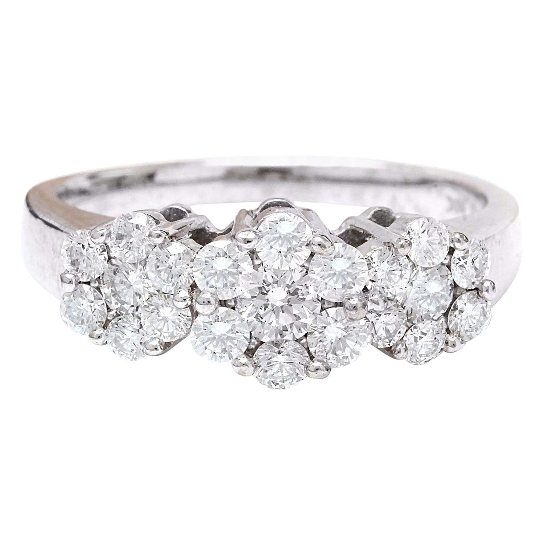 1.70 Carat Natural Diamond 18 Karat Solid White Gold Ring