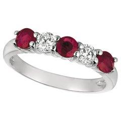 1.70 Carat Natural Diamond and Ruby Ring Band 14 Karat White Gold