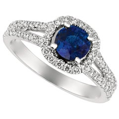1.70 Carat Natural Diamond and Sapphire Ring 14 Karat White Gold