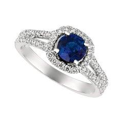 1.70 Carat Natural Diamond and Sapphire Ring 14 Karat White Gold