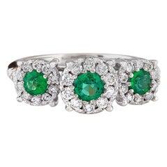 1.70 Carat Natural Emerald 18 Karat Solid White Gold Diamond Ring