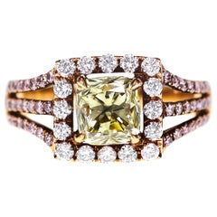 IGI Certified 1.70 Carat Natural Fancy Light Yellow Diamond Solitaire Ring