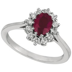 1.70 Carat Natural Oval Ruby and Diamond Ring 14 Karat White Gold
