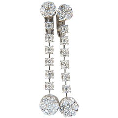 1.70 Carat Natural Round Diamonds Floating Cluster Dangle Earrings Omega