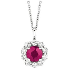 1.70 Carat Natural Ruby and Diamond Necklace Pendant G SI 14 Karat White Gold