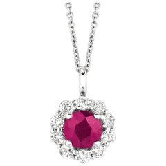 1.70 Carat Natural Ruby and Diamond Necklace Pendant G SI 14 Karat White Gold