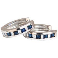 1.70 Carat Natural Sapphires and Diamonds Huggie Earrings