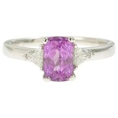 1.70 Carat Non Heated Pink Sapphire Troidia Diamonds 18 Karat Gold Ring