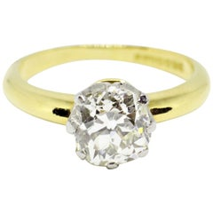 1.70 Carat Old Cushion Cut Diamond 18 Carat Gold Engagement Ring, circa 1900