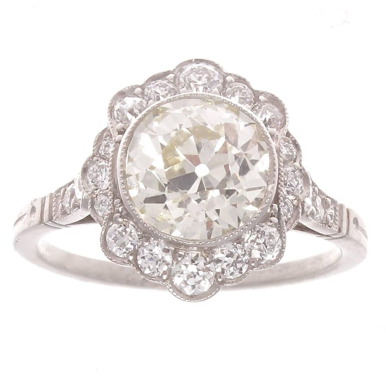 1.70 Carat Old European Cut Diamond Platinum Cluster Engagement Ring