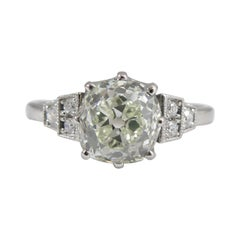 1.70 Carat Old Mine Cut Diamond Ring with Diamond Shoulders on Platinum Band