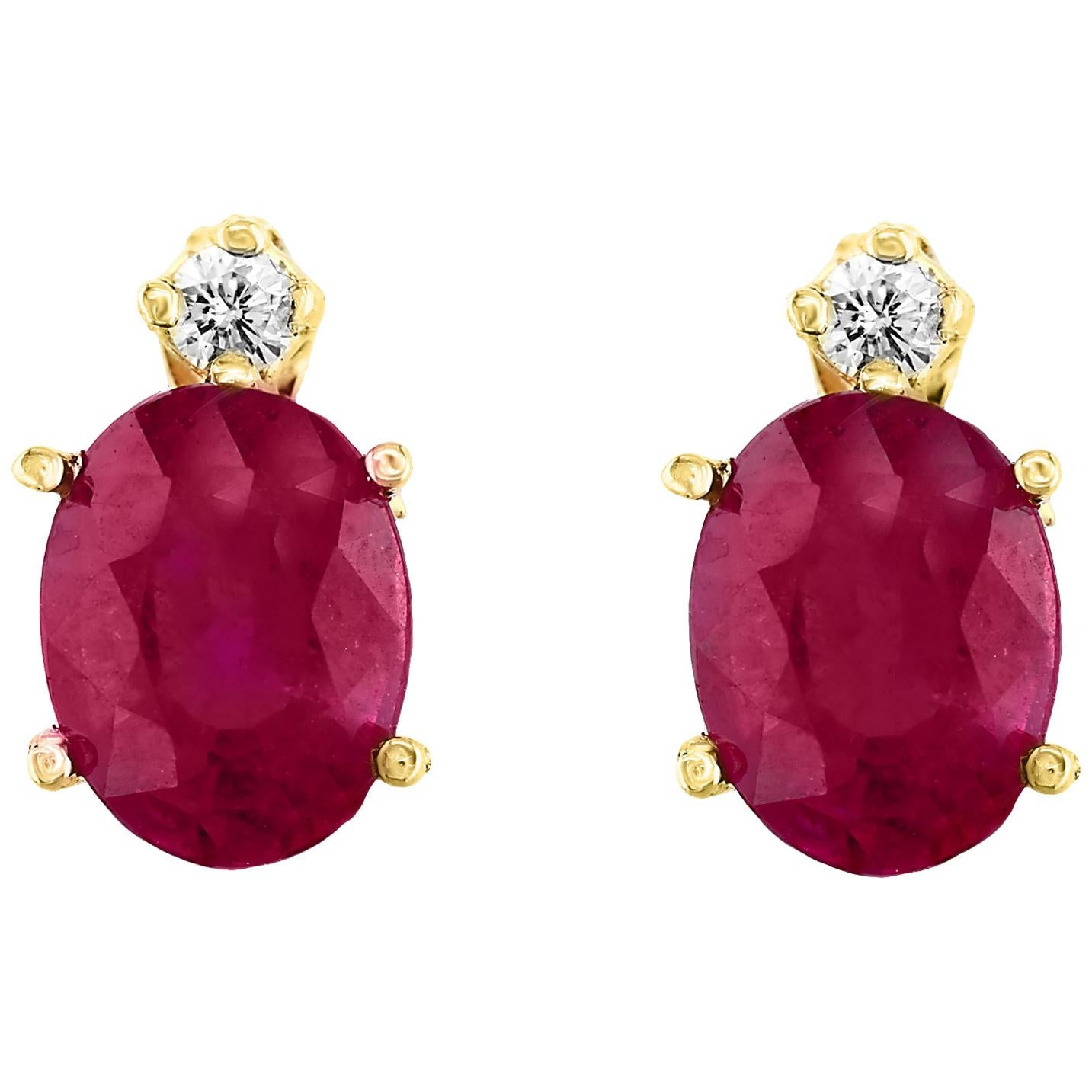 1.70 Carat Oval Natural Ruby and Diamond Stud Post Earrings 14 Karat Yellow Gold