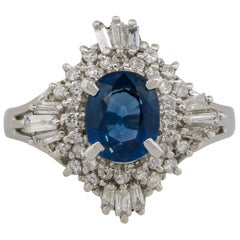 1.70 Carat Oval Sapphire Center Diamond Cocktail Ring Platinum in Stock