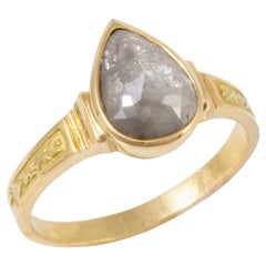 1.70 Carat Pear Shaped Raw Diamond in 18 Karat Gold Ring