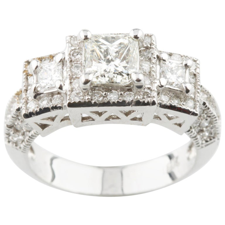 1 70 Carat Princess Cut Diamond 3 Stone 18 Karat White Gold