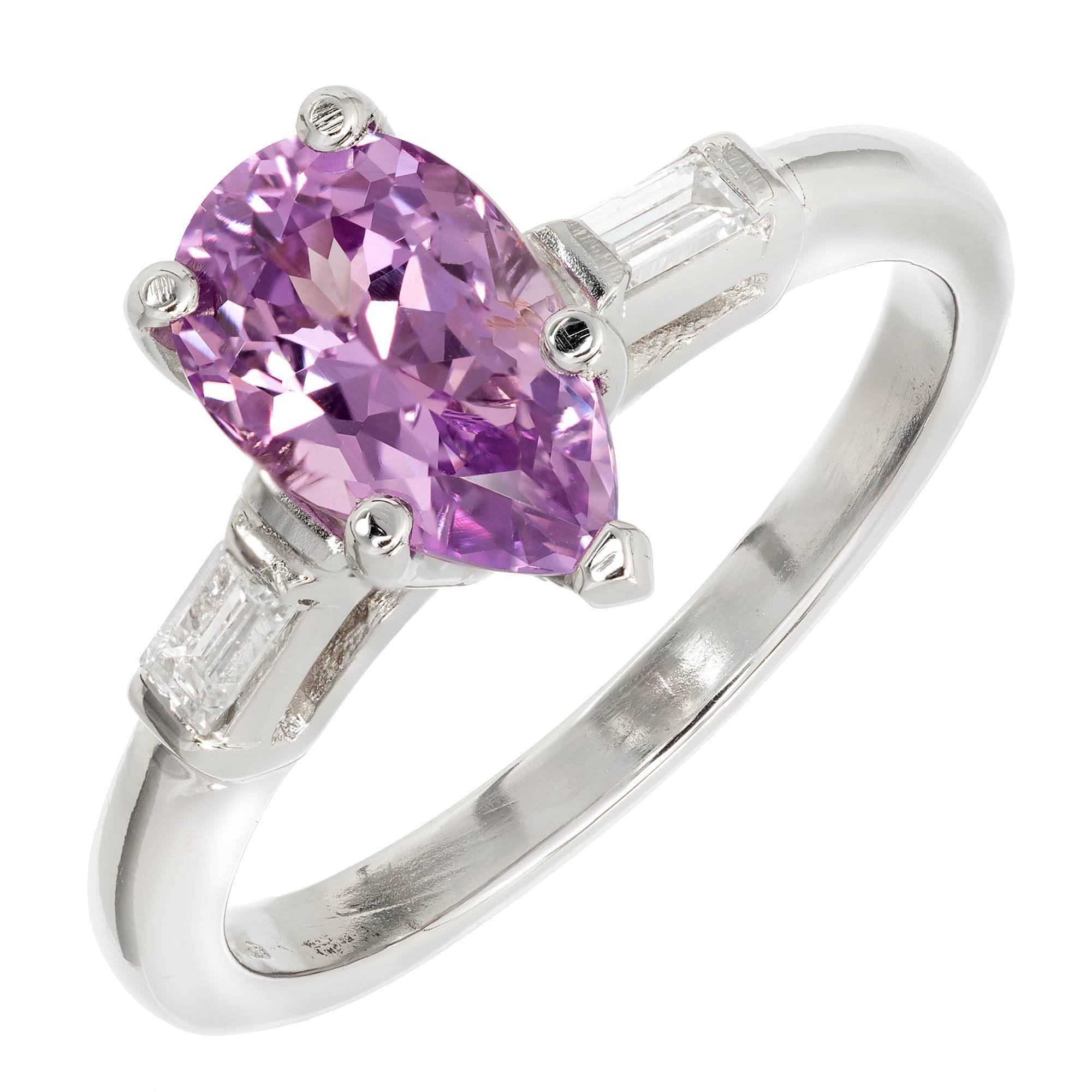 1.70 Carat Purple Sapphire Diamond Platinum Three-Stone Engagement Ring