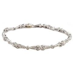 "1.70 Carat Round Diamond 18 Karat White Gold ""X"" Link Bracelet"