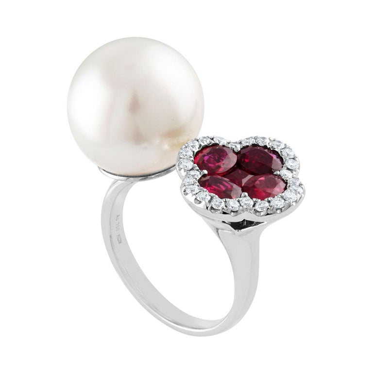 1.70 Carat Ruby and South Sea Pearl Between The Finger Diamond Gold Ring For Sale