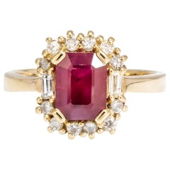 1.70 Carat Ruby Ring with Diamond Side Stones, EGL, USA