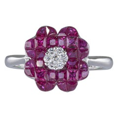 1.70 Carat Ruby Ring with Diamonds 18 Karat Gold