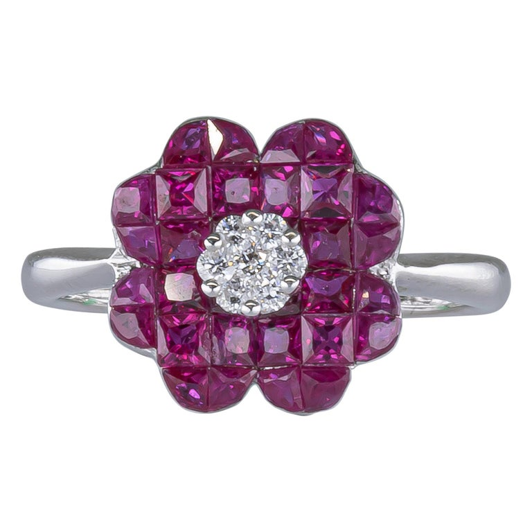 1.70 Carat Ruby Ring with Diamonds 18 Karat Gold For Sale
