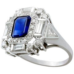 1.70 Carat Sapphire and 1.76 Carat Diamond Platinum Dress Ring