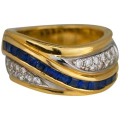 1.70 Carat Sapphire and Diamond Band Ring Channel Princess
