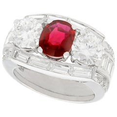 1.70 Carat Siam Ruby and 3.02 Carat Diamond, Platinum Cocktail Ring, circa 1950