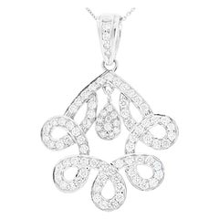 1.70 Carat Total F VS Diamond Pendant in 18 Karat White Gold