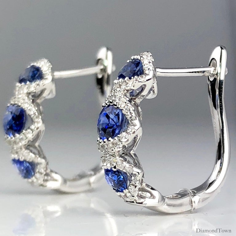 Contemporary 1.70 Carat Vivid Blue Sapphire and 0.31 Carat Diamond Lever-Back Stud Earrings For Sale